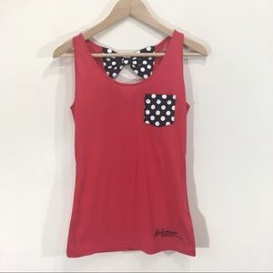 Minnie Mouse Bow Tank Top Cut Out Small Red